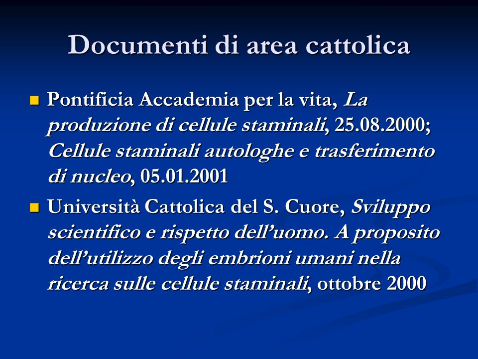 Documenti di area cattolica