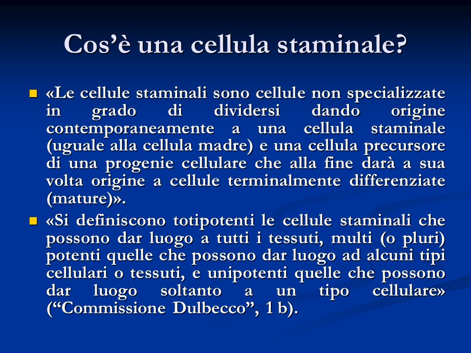 Cos'è una cellula staminale