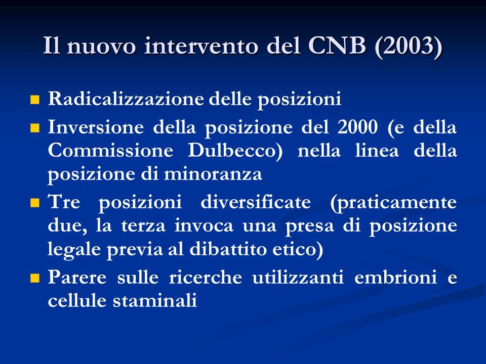 Il nuovo intervento del CNB (2003)