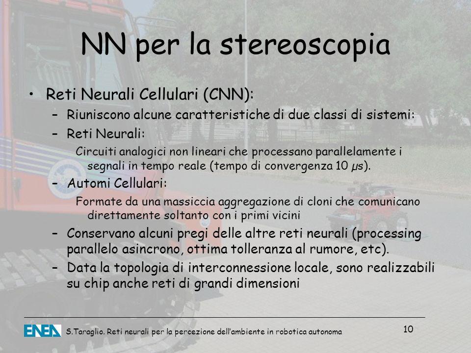 NN per la stereoscopia Reti Neurali Cellulari (CNN):