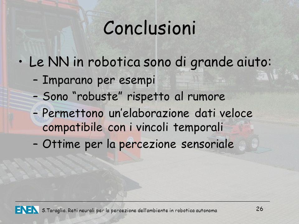 Conclusioni Le NN in robotica sono di grande aiuto:
