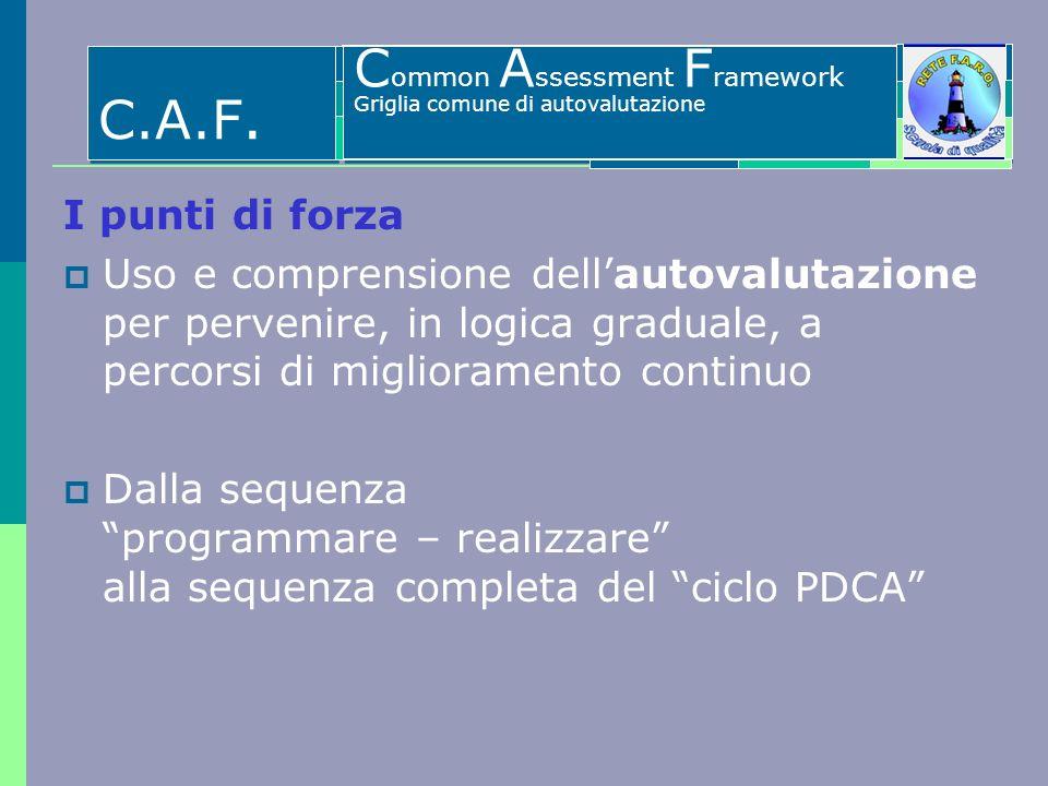 C.A.F. Common Assessment Framework I punti di forza