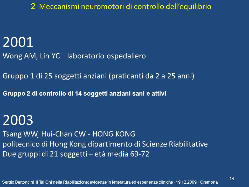 2001 2003 2 Meccanismi neuromotori di controllo dell'equilibrio