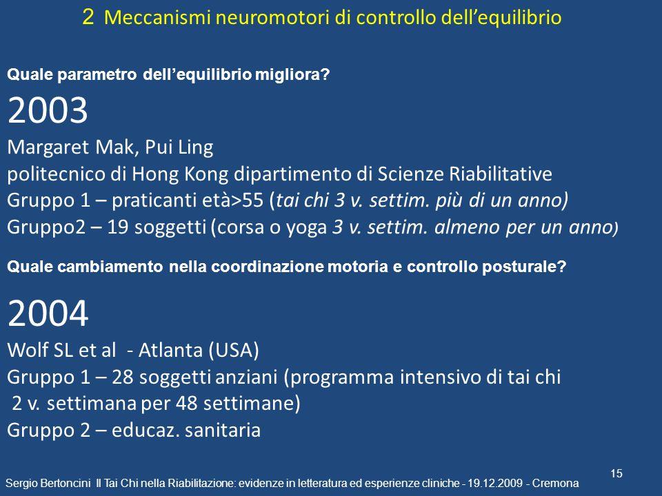 2003 2004 2 Meccanismi neuromotori di controllo dell'equilibrio