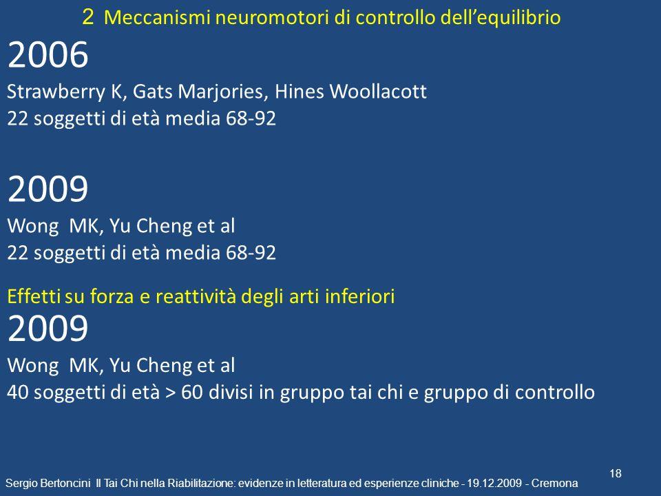 2006 2009 2009 2 Meccanismi neuromotori di controllo dell'equilibrio