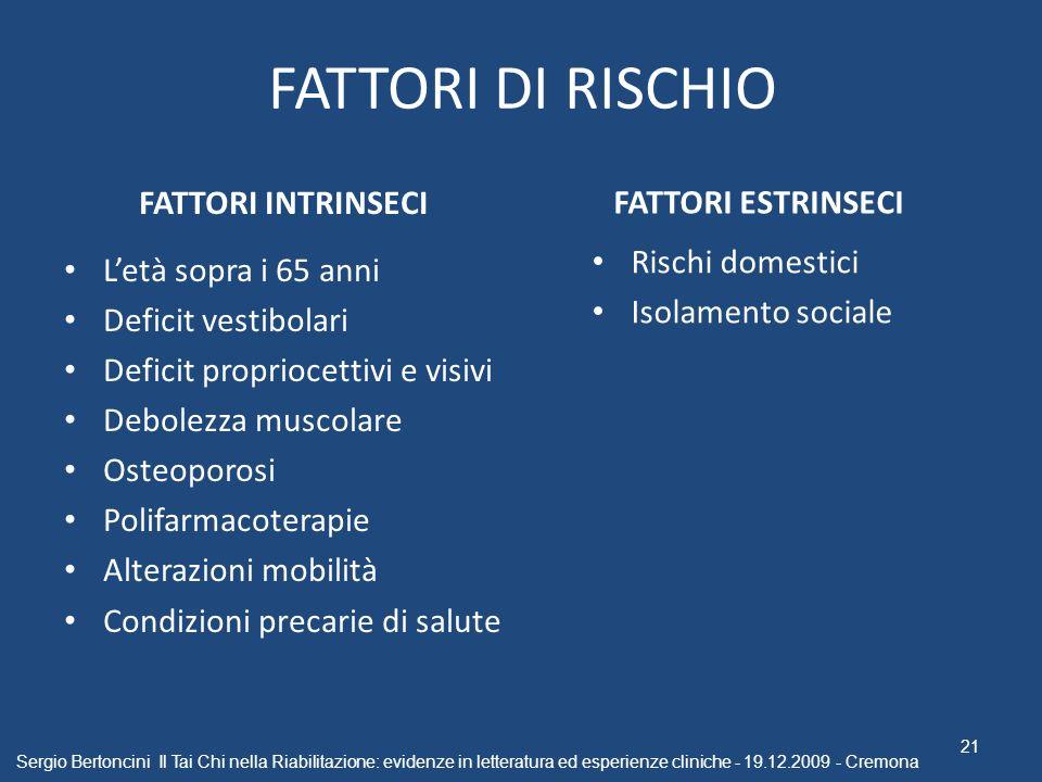 FATTORI DI RISCHIO FATTORI INTRINSECI FATTORI ESTRINSECI