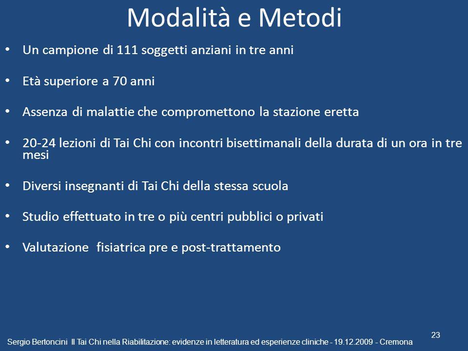 Modalità e Metodi Un campione di 111 soggetti anziani in tre anni