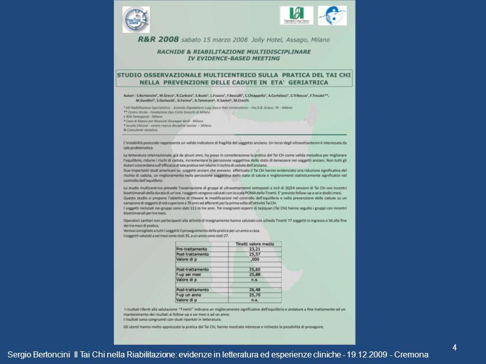 Sergio Bertoncini Il Tai Chi nella Riabilitazione: evidenze in letteratura ed esperienze cliniche - 19.12.2009 - Cremona