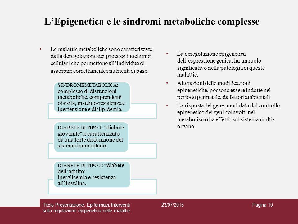 L'Epigenetica e le sindromi metaboliche complesse