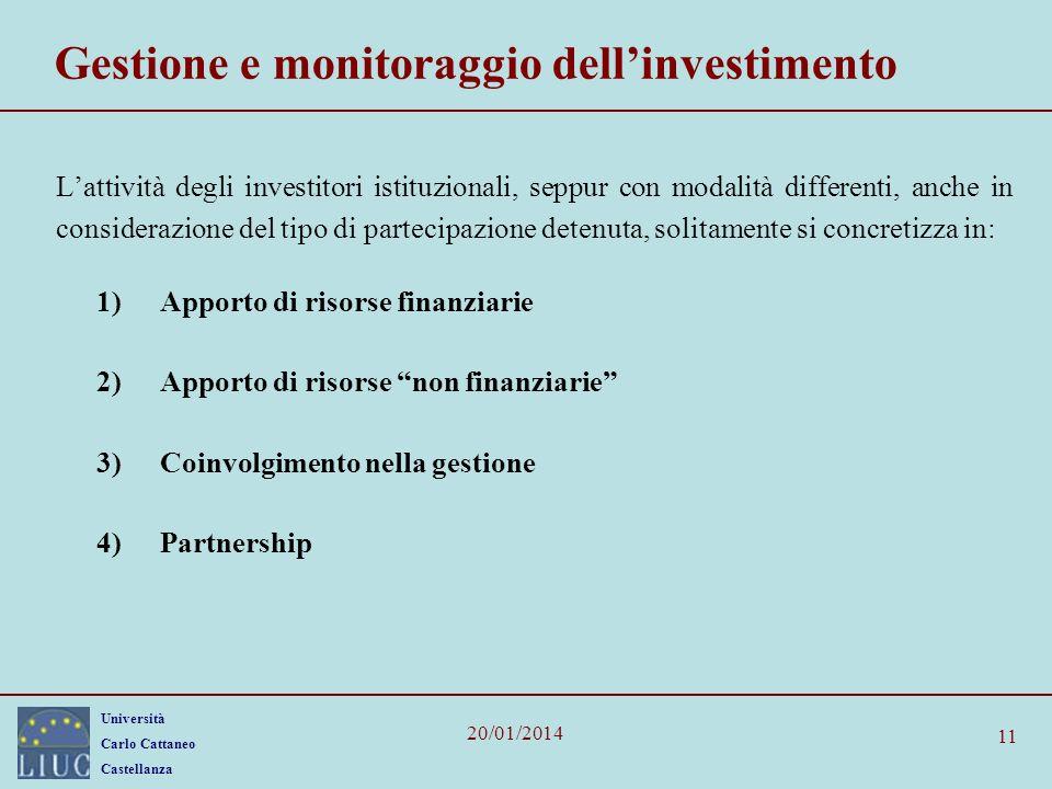 Gestione e monitoraggio dell'investimento