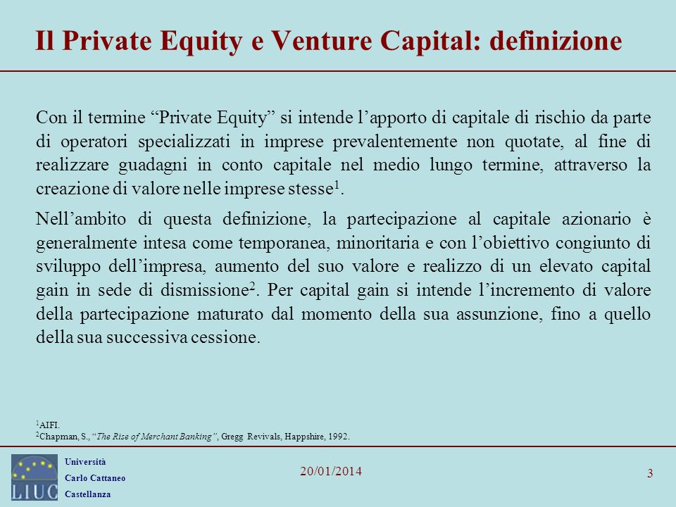 Il Private Equity e Venture Capital: definizione