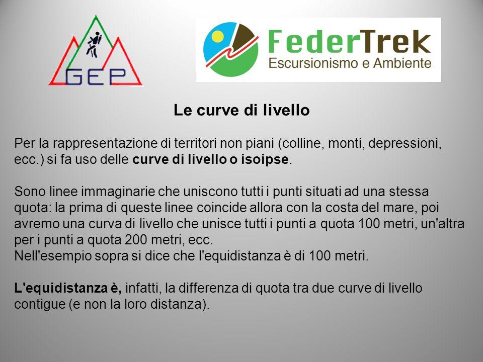 Le curve di livello Per la rappresentazione di territori non piani (colline, monti, depressioni, ecc.) si fa uso delle curve di livello o isoipse.