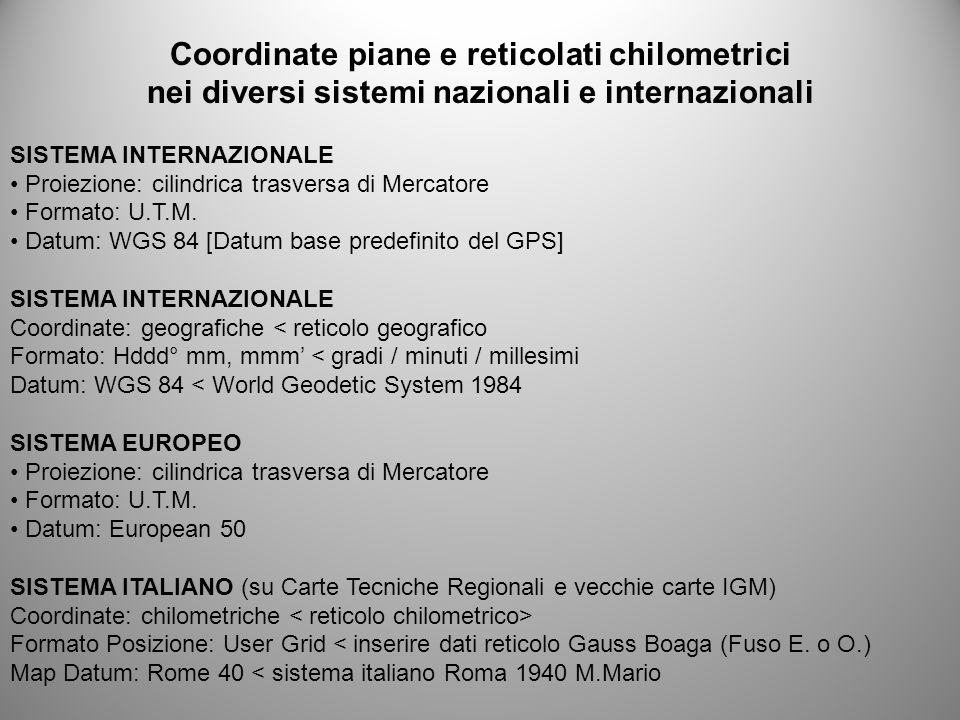 Coordinate piane e reticolati chilometrici