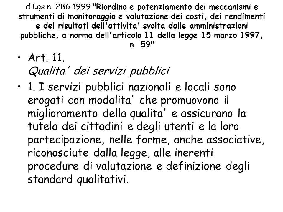 Art. 11. Qualita dei servizi pubblici