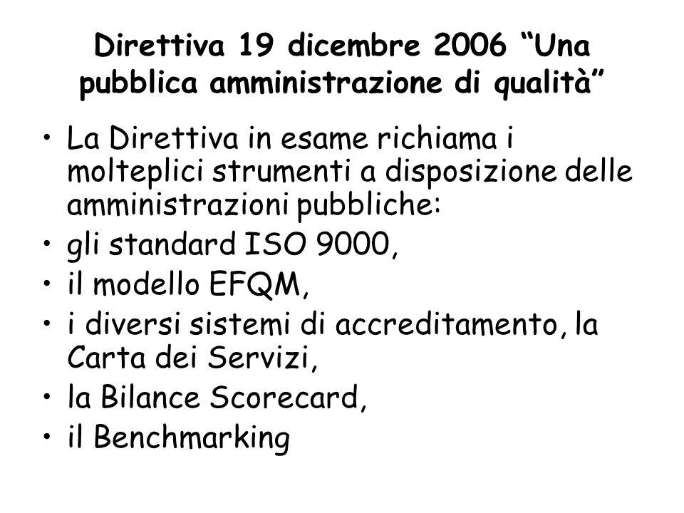 Direttiva 19 dicembre 2006 Una pubblica amministrazione di qualità