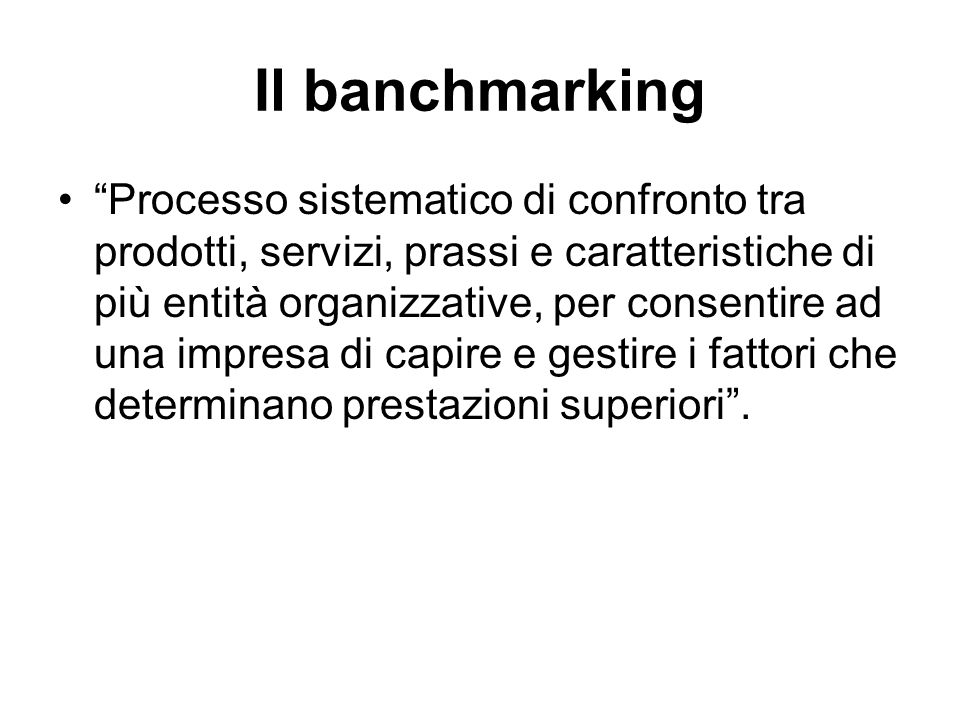 Il banchmarking