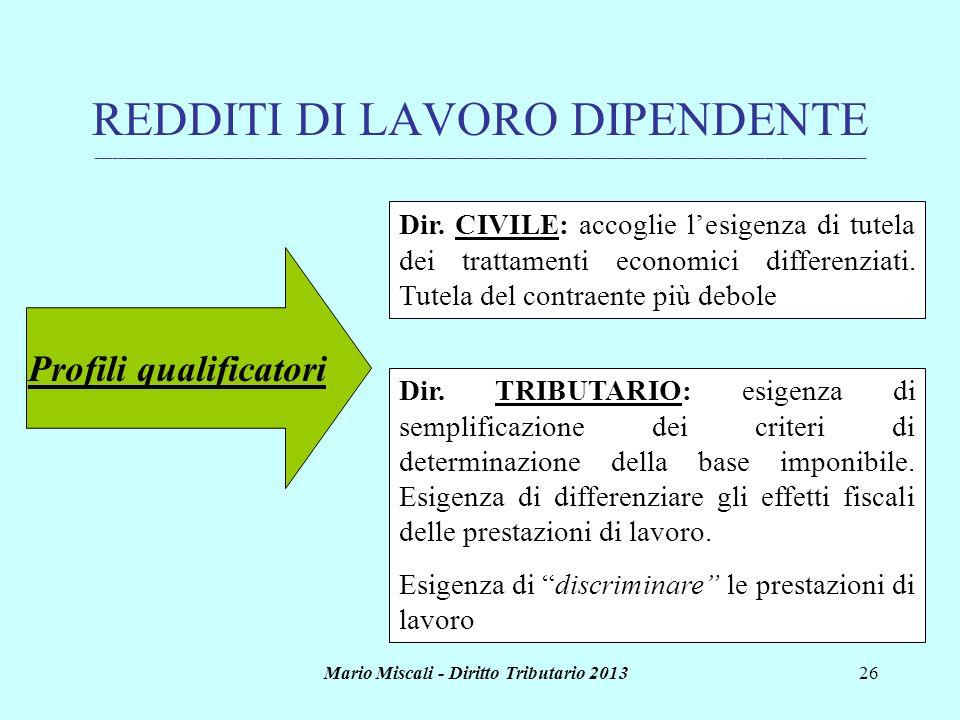Profili qualificatori Mario Miscali - Diritto Tributario 2013