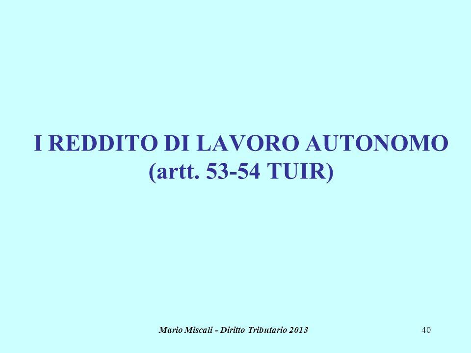 I REDDITO DI LAVORO AUTONOMO (artt. 53-54 TUIR)