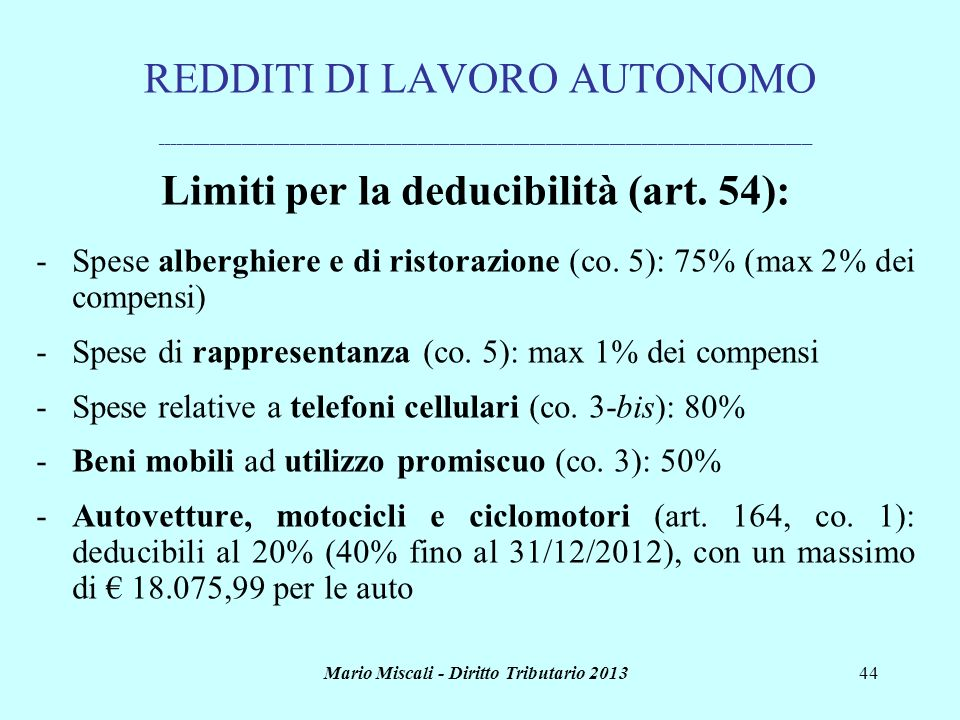 Limiti per la deducibilità (art. 54):