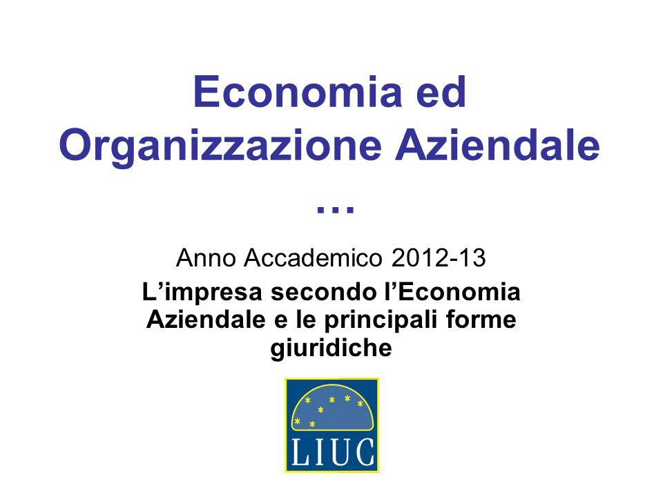 Economia ed Organizzazione Aziendale …