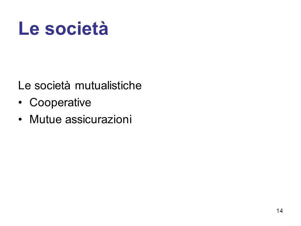 Le società Le società mutualistiche Cooperative Mutue assicurazioni