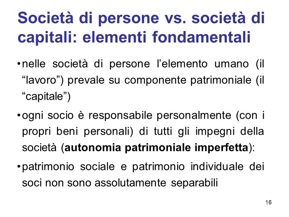 Società di persone vs. società di capitali: elementi fondamentali