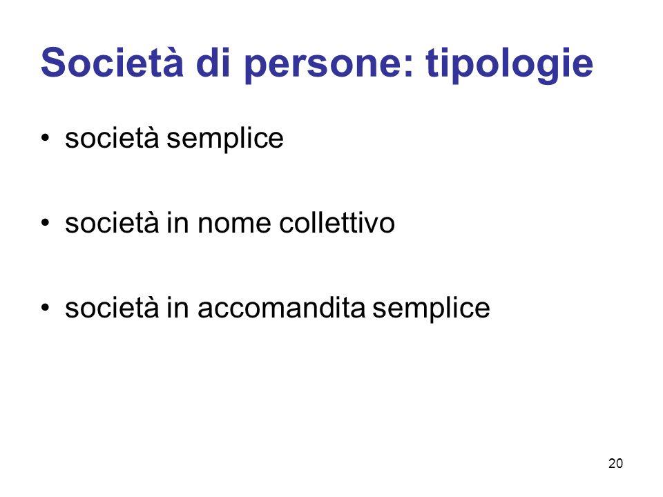 Società di persone: tipologie