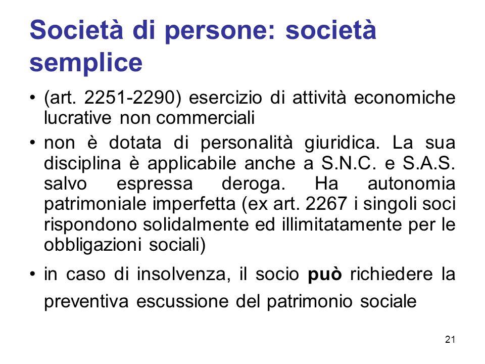Società di persone: società semplice