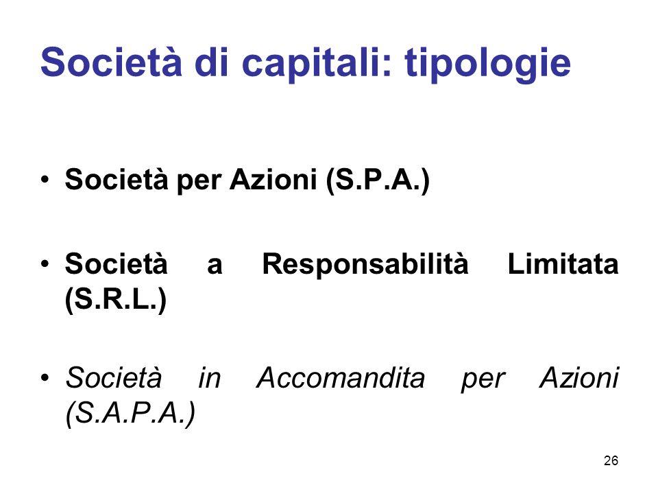 Società di capitali: tipologie