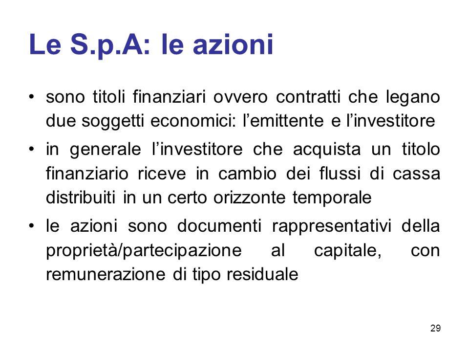 Le S.p.A: le azioni sono titoli finanziari ovvero contratti che legano due soggetti economici: l'emittente e l'investitore.