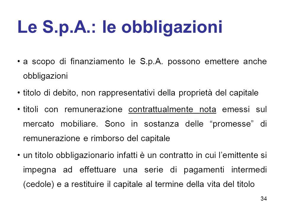 Le S.p.A.: le obbligazioni
