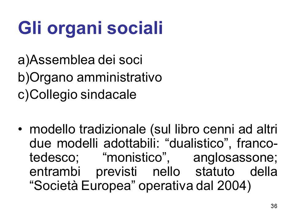 Gli organi sociali Assemblea dei soci Organo amministrativo