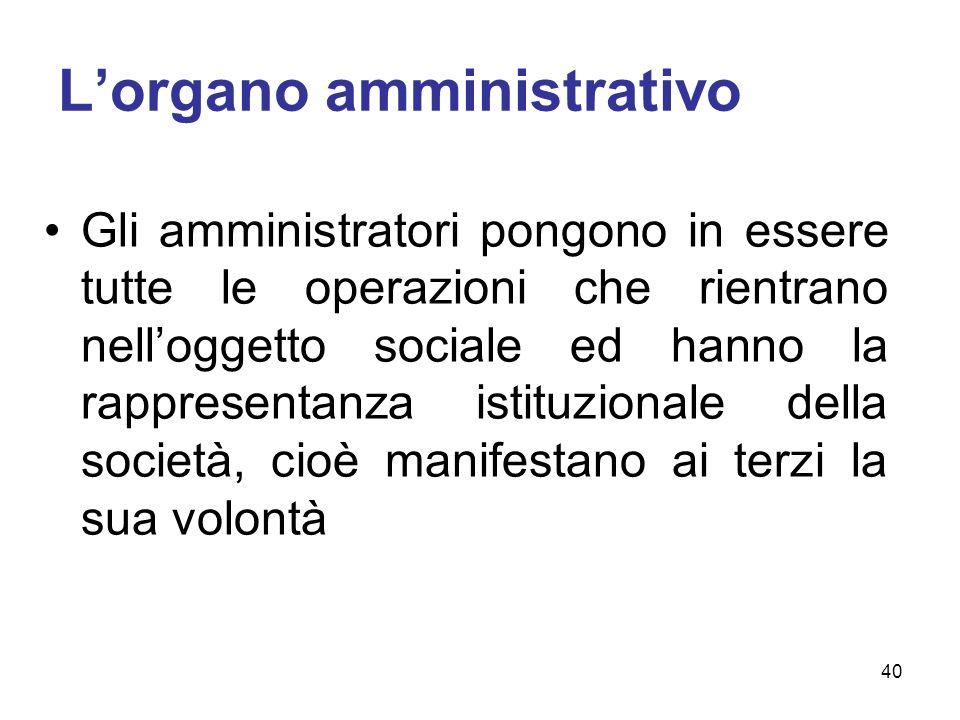 L'organo amministrativo