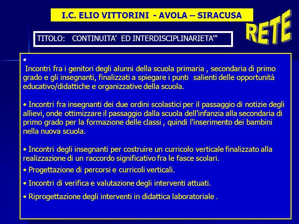 I.C. ELIO VITTORINI - AVOLA – SIRACUSA