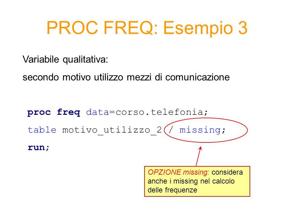 PROC FREQ: Esempio 3 Variabile qualitativa: