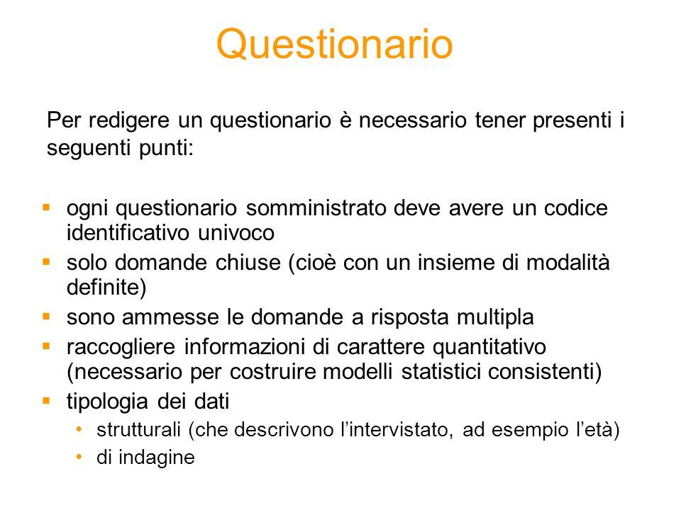 Questionario Per redigere un questionario è necessario tener presenti i seguenti punti: