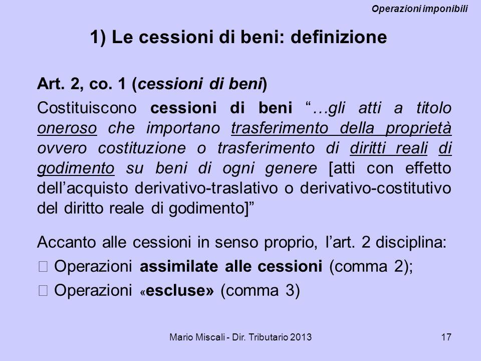 1) Le cessioni di beni: definizione