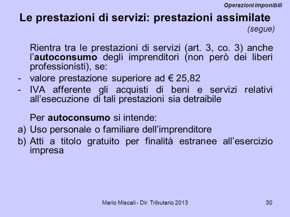 Le prestazioni di servizi: prestazioni assimilate