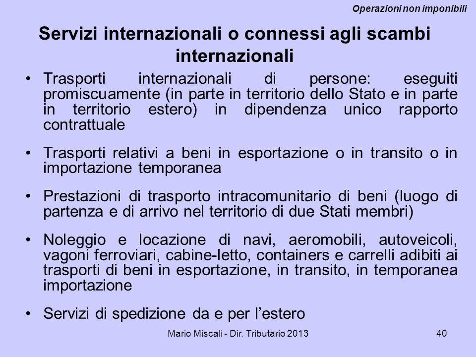 Servizi internazionali o connessi agli scambi internazionali