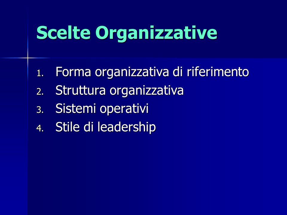 Scelte Organizzative Forma organizzativa di riferimento