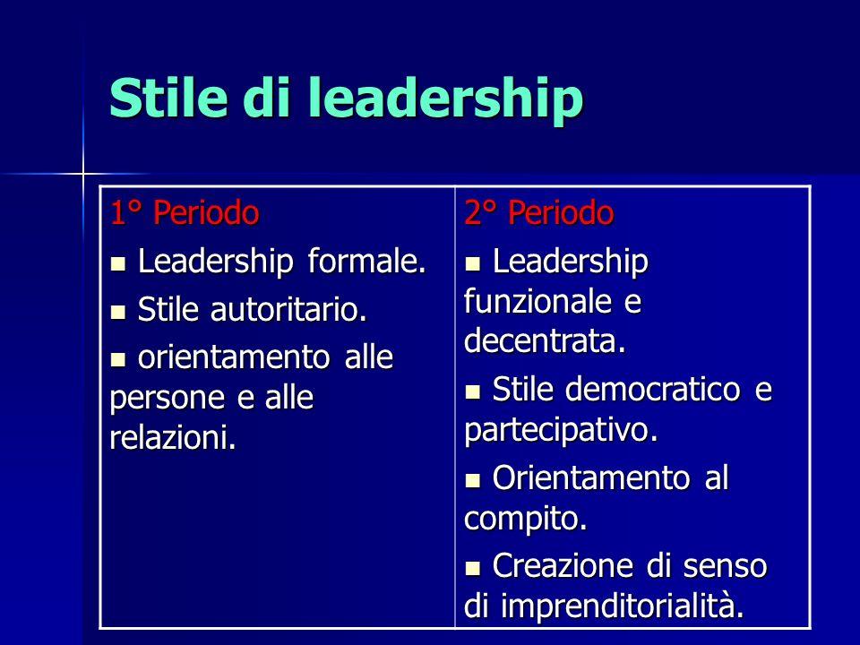 Stile di leadership 1° Periodo Leadership formale. Stile autoritario.