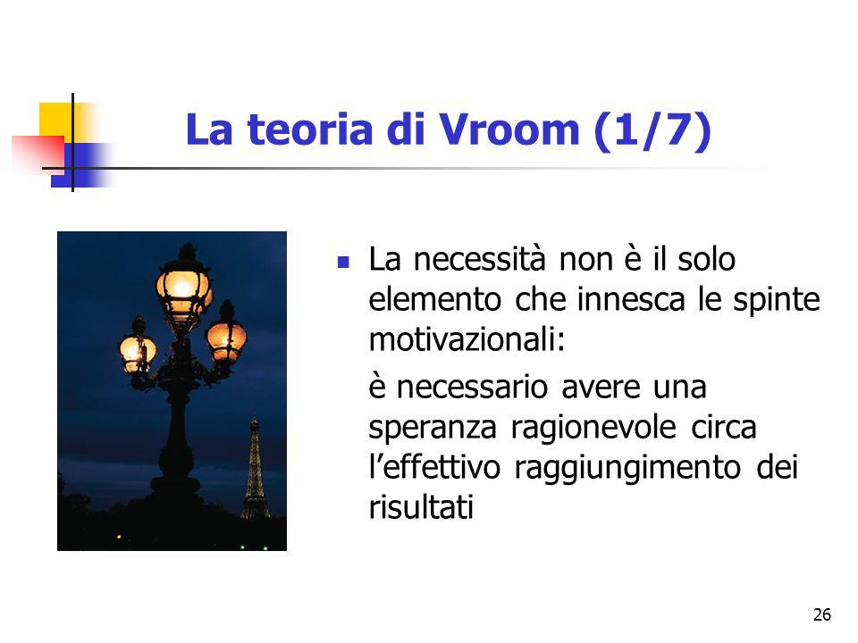 La teoria di Vroom (1/7) La necessità non è il solo elemento che innesca le spinte motivazionali: