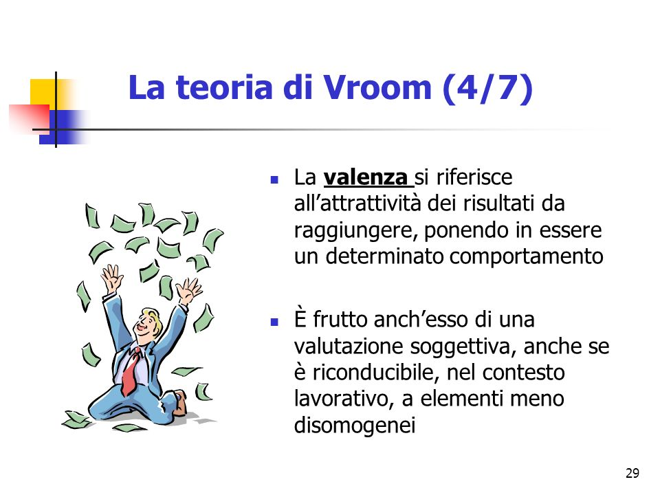 La teoria di Vroom (4/7) La valenza si riferisce all'attrattività dei risultati da raggiungere, ponendo in essere un determinato comportamento.