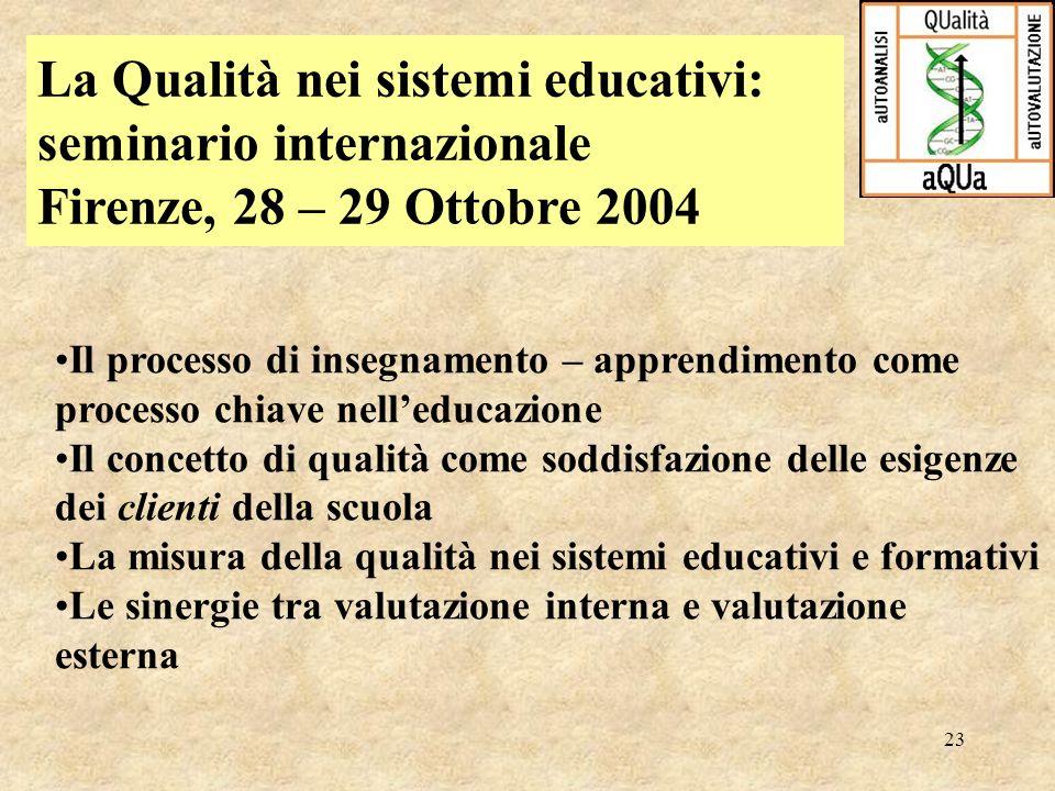 La Qualità nei sistemi educativi: seminario internazionale