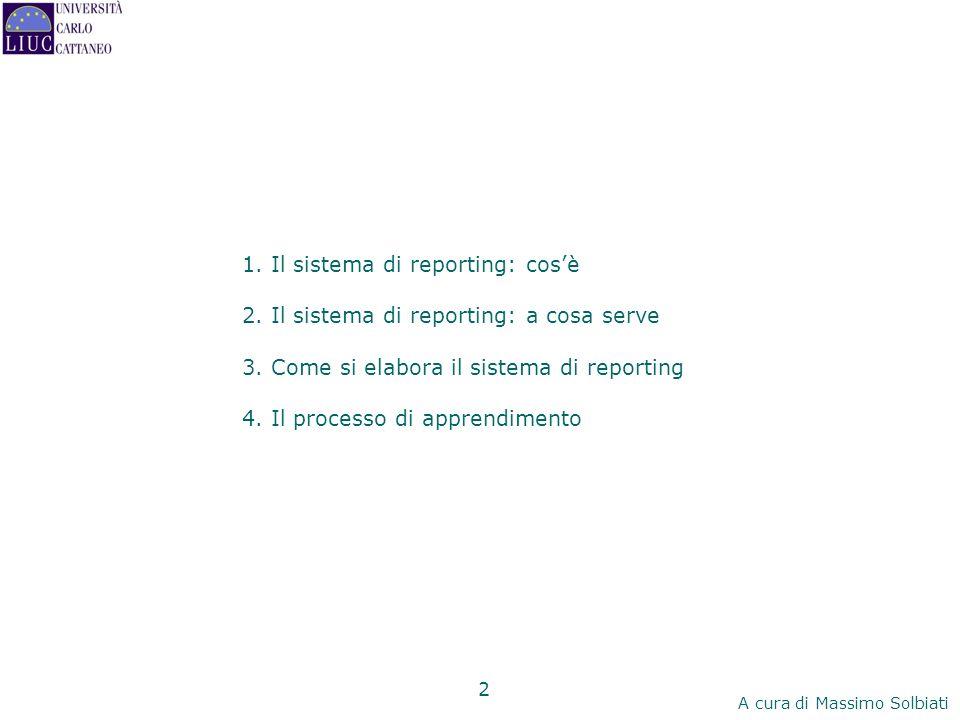 1. Il sistema di reporting: cos'è