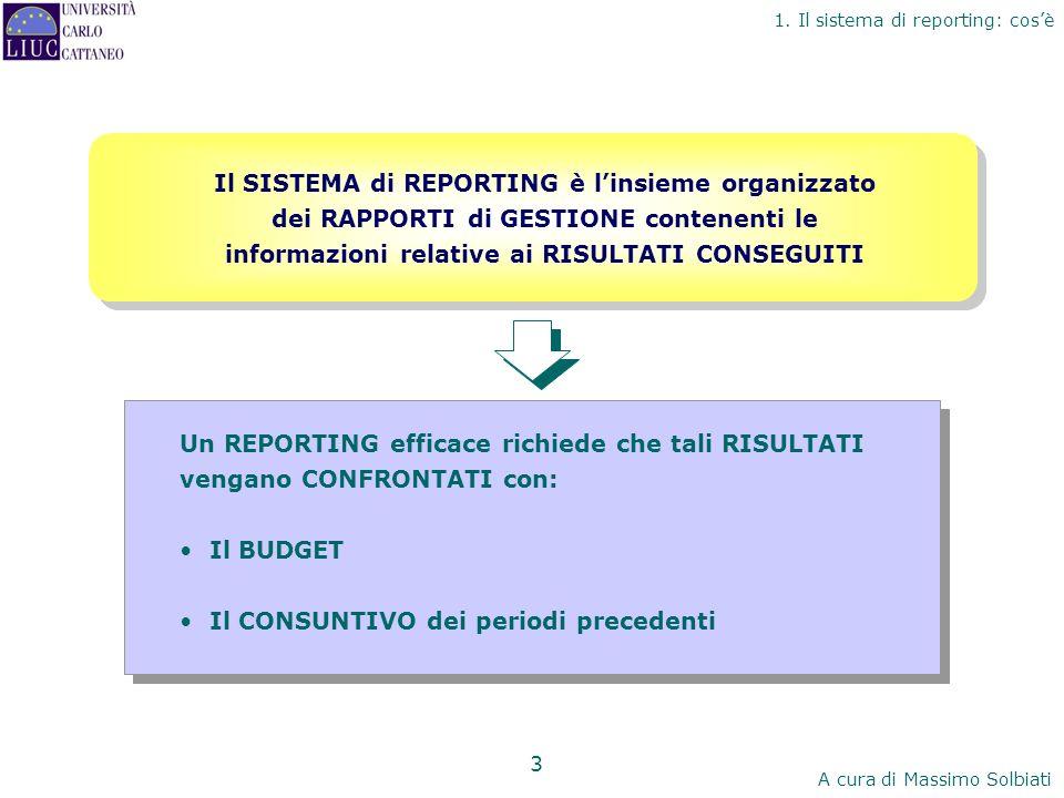 Il SISTEMA di REPORTING è l'insieme organizzato