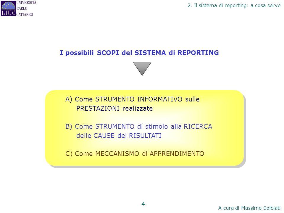 I possibili SCOPI del SISTEMA di REPORTING