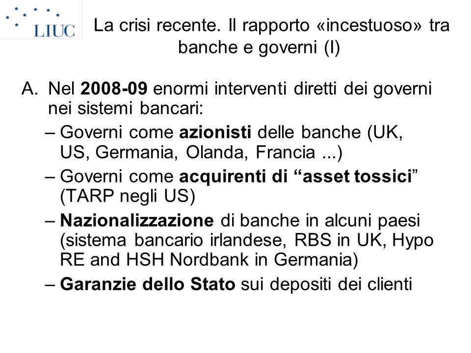 La crisi recente. Il rapporto «incestuoso» tra banche e governi (I)