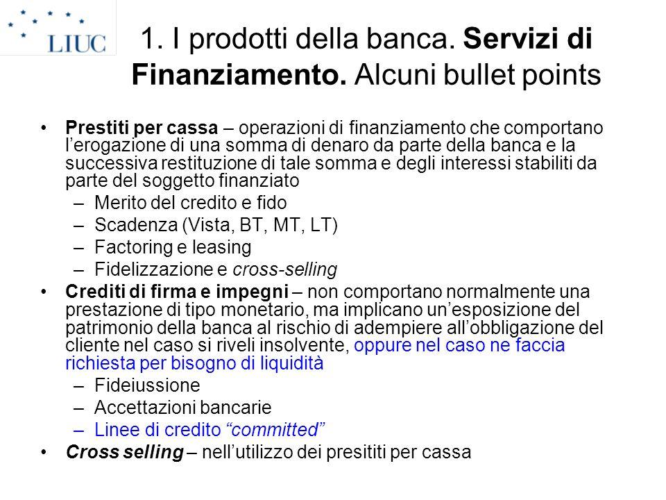 1. I prodotti della banca. Servizi di Finanziamento