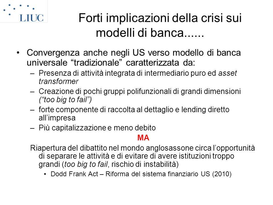 Forti implicazioni della crisi sui modelli di banca......
